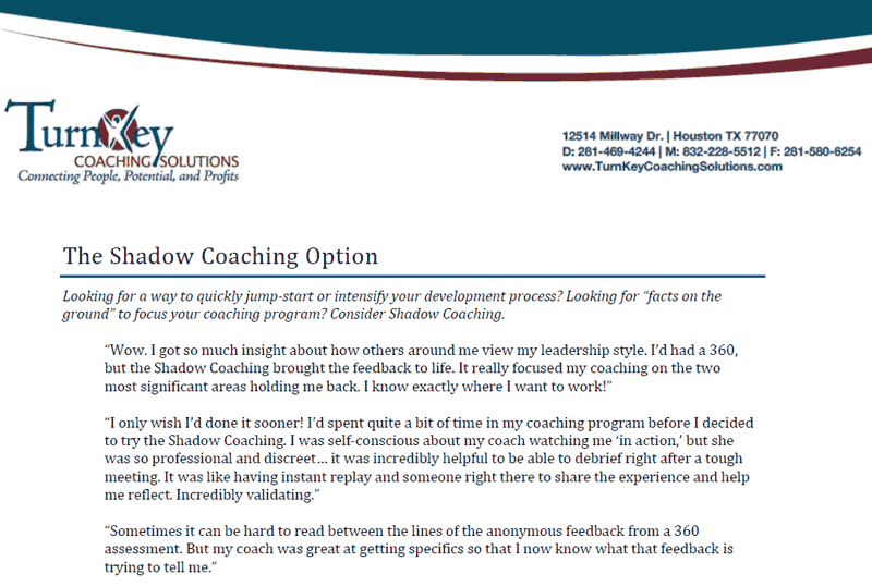 Shadow Coaching Option